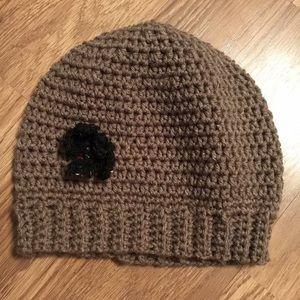 Accessories - Handmade brown crochet hat with black flower!